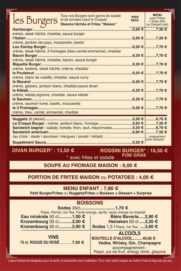 Livraison domicile le divan bar restaurant rue for Jardin lee menu livraison